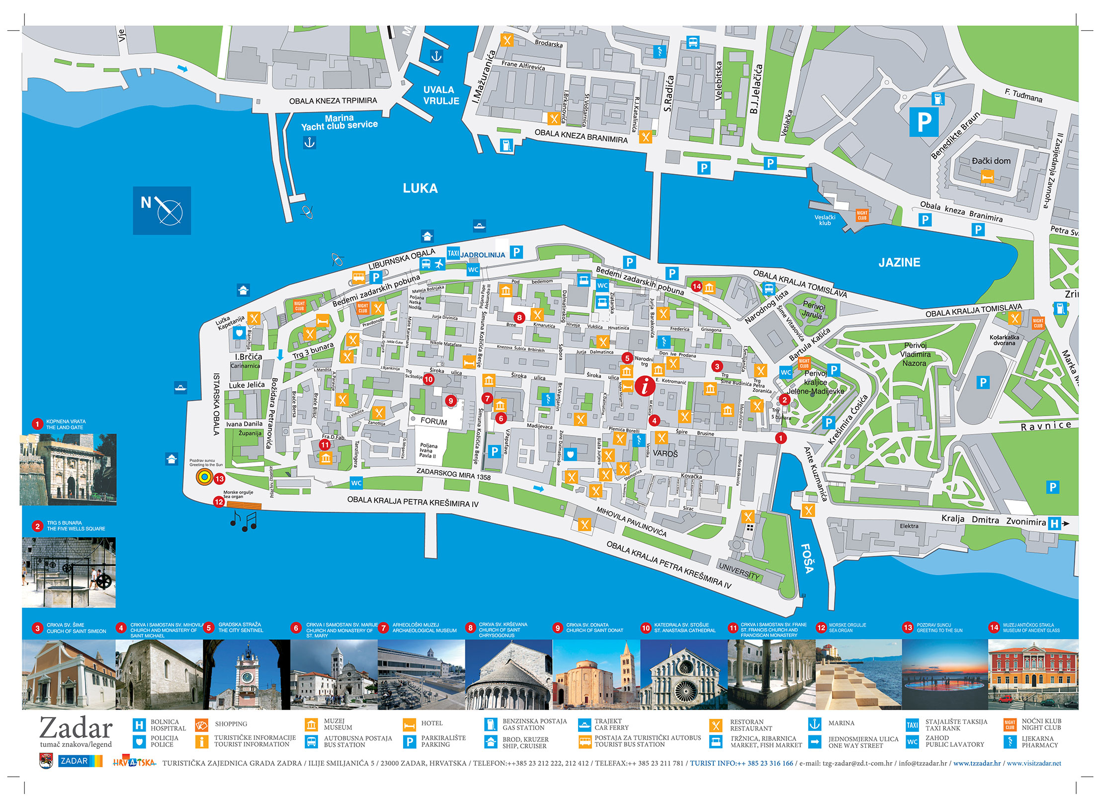 Zadar Old City Map by Zadar Tourist Board